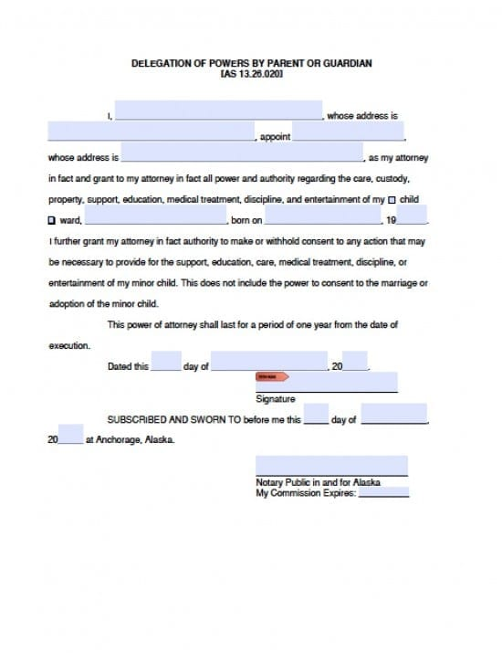 Alaska Minor Child Power of Attorney Form