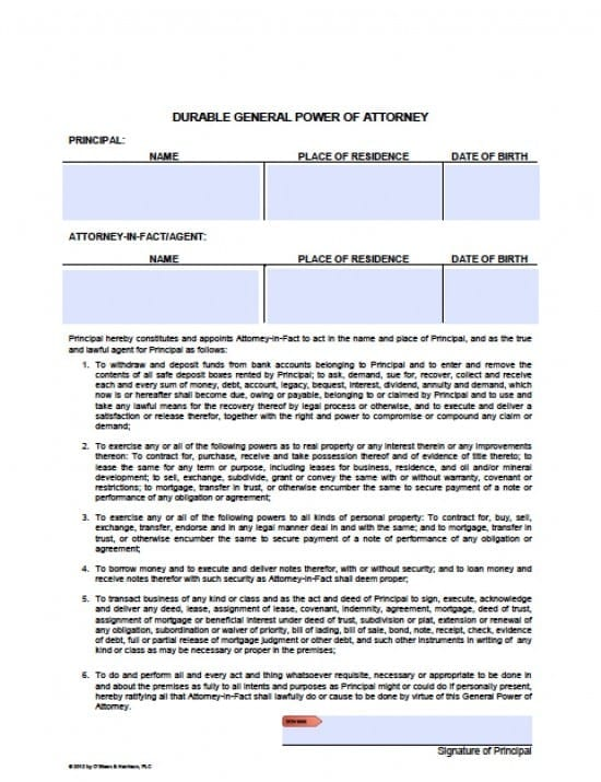 Arizona Durable Financial Power Of Attorney Form  Power Of