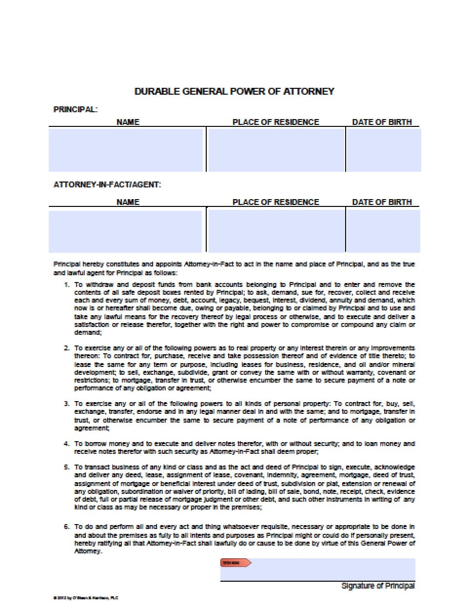 Arizona Durable Financial Power Of Attorney Form Power