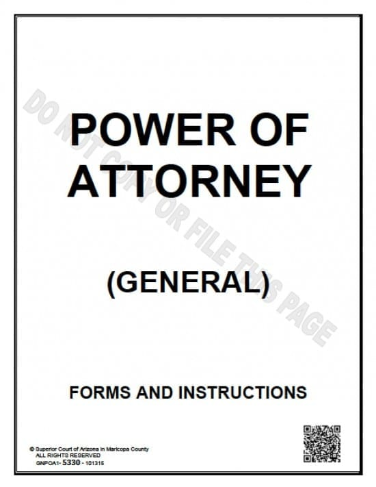 Arizona General Financial Power of Attorney Form