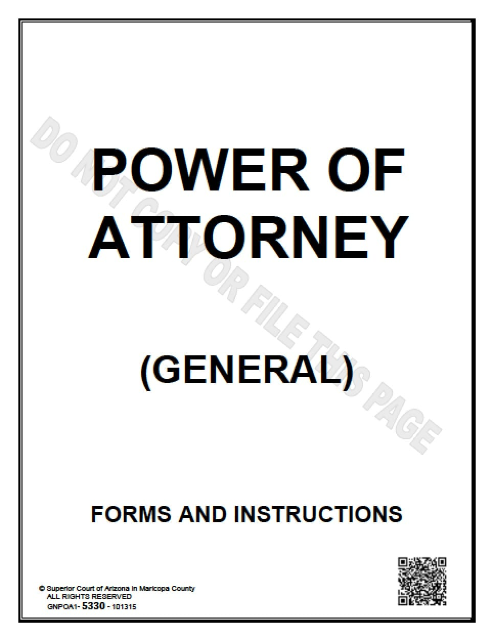 Arizona General Financial Power Of Attorney Form Power Of Attorney