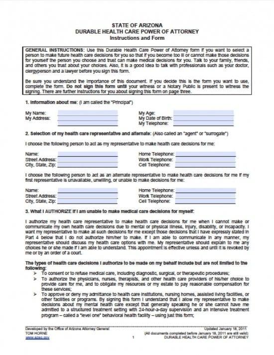 Arizona Medical Power of Attorney Form