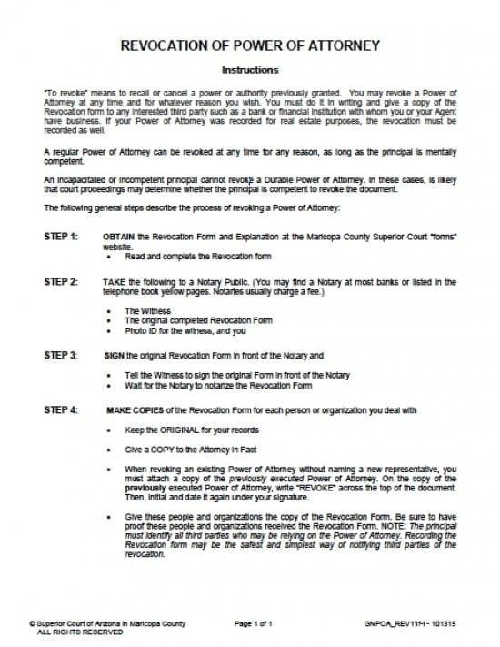 Arizona Revocation Power of Attorney Form