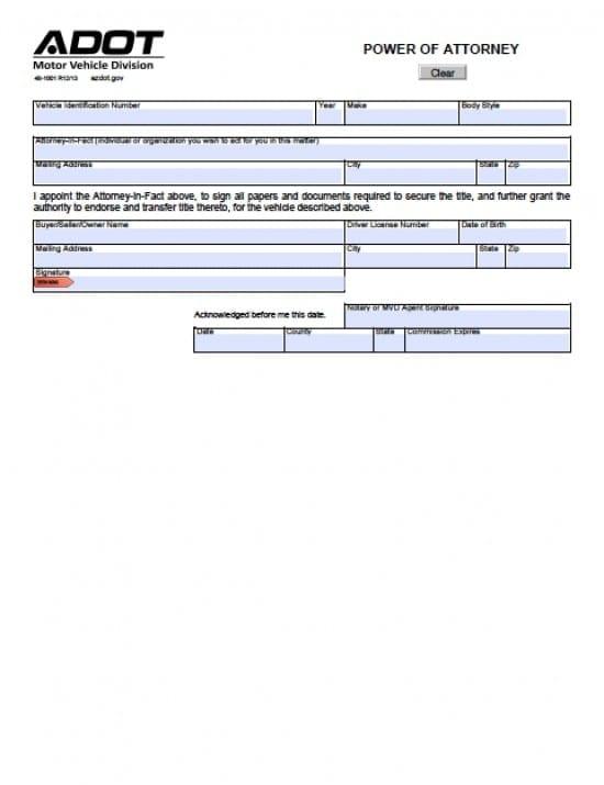 Arizona Vehicle Power of Attorney Form