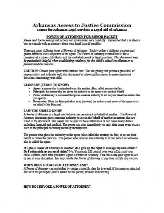Arkansas Minor Child Power of Attorney Form
