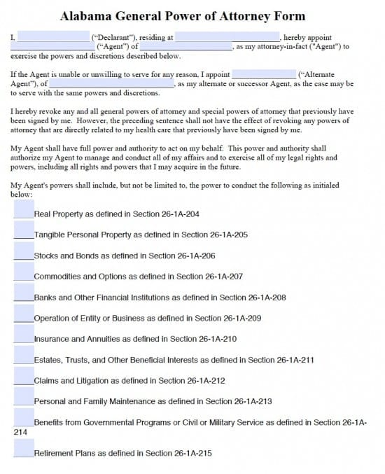 Alabama General Financial Power of Attorney Form
