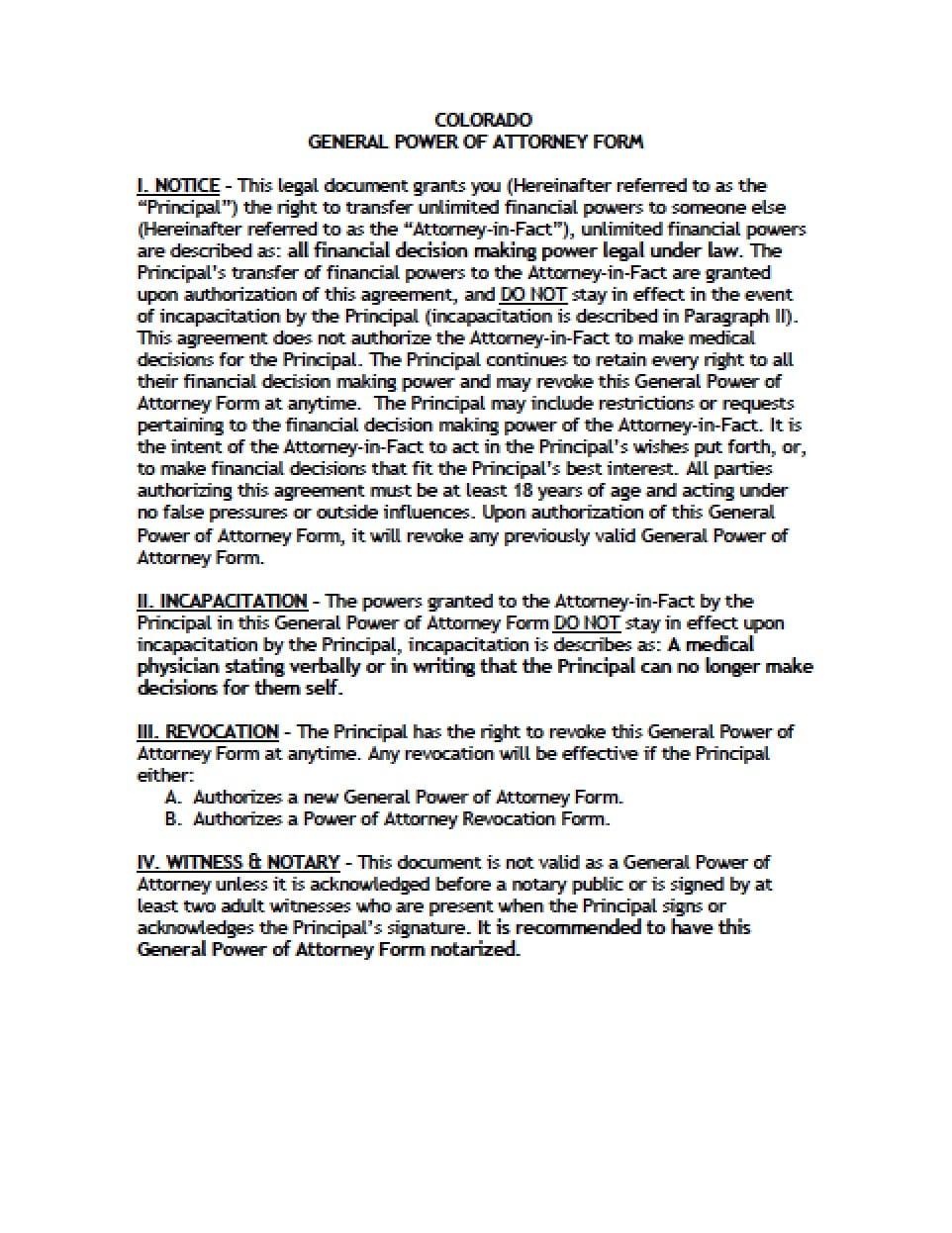 Colorado tax power of attorney form power of attorney power of colorado general financial power of attorney form falaconquin