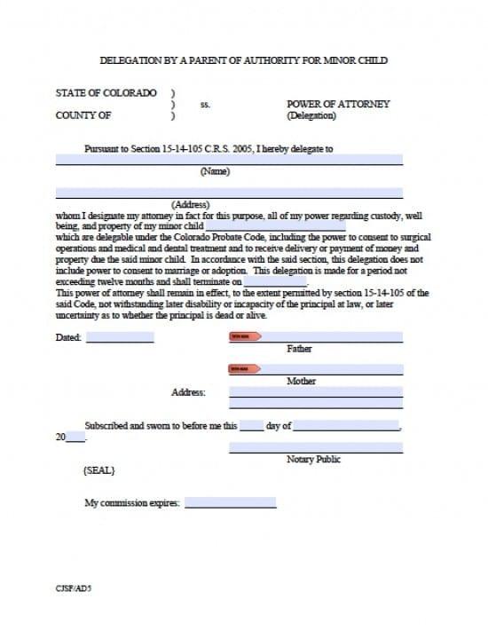 Colorado Minor Child Power of Attorney Form