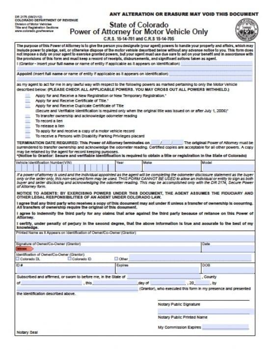 Colorado Vehicle Power of Attorney Form