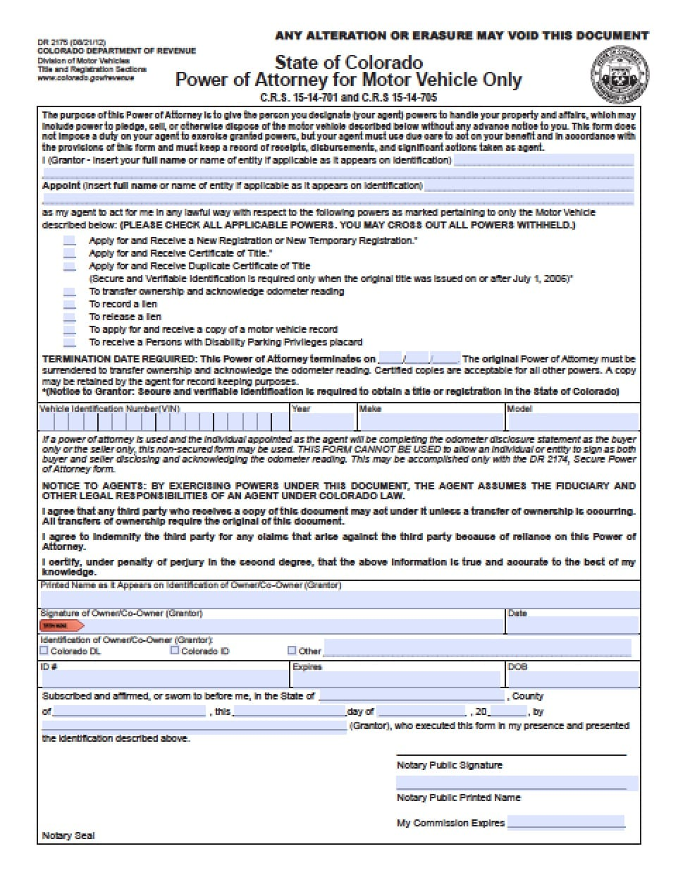 Colorado Vehicle Power of Attorney Form - Power of Attorney : Power ...