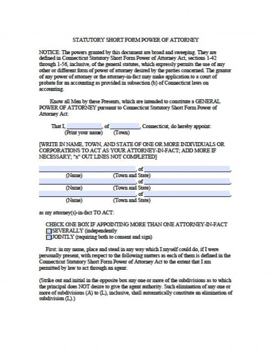 Connecticut Durable Financial Power of Attorney Form
