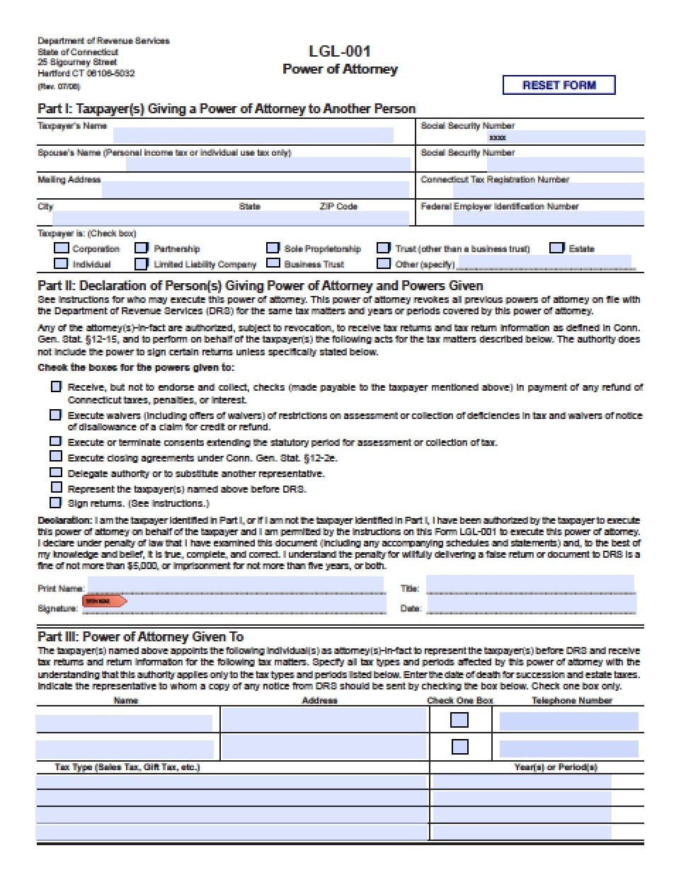 Connecticut Durable Financial Power of Attorney Form #0: Connecticut Tax Power of Attorney Form