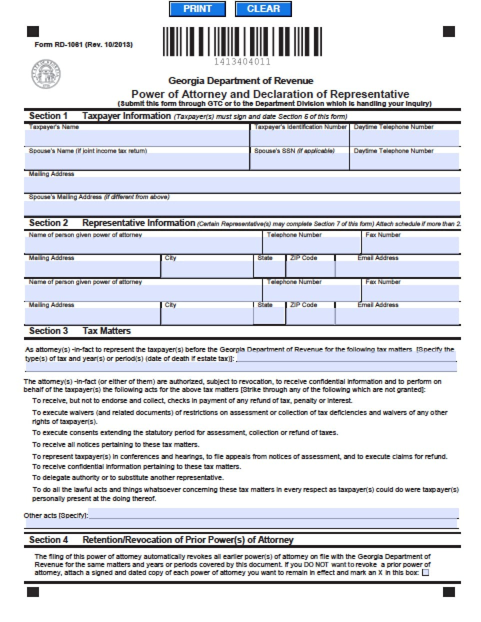 Georgia Revocation Power Of Attorney Form Power Of Attorney