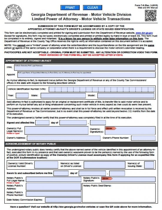 Georgia Vehicle Power of Attorney Form