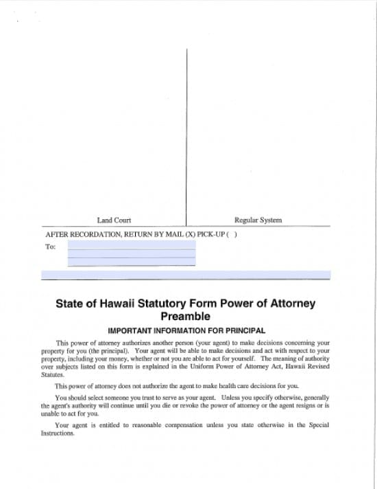 Hawaii Durable Financial Power of Attorney Form