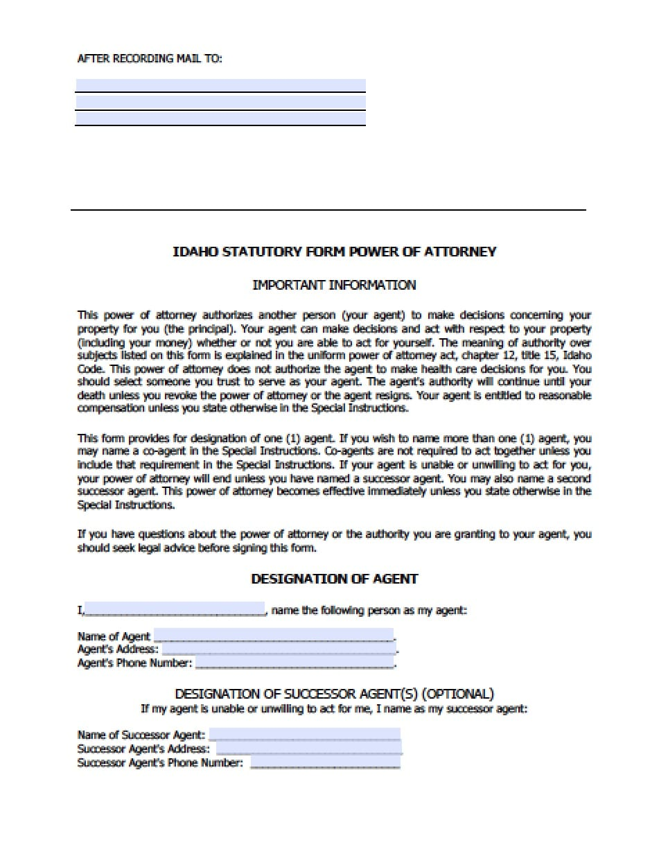 Idaho Real Estate ONLY Power Of Attorney Form Power Of Attorney - Idaho legal forms