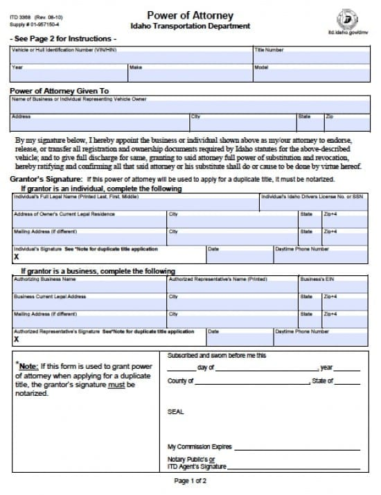 Idaho Vehicle Power of Attorney Form