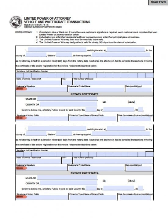 Indiana Vehicle Power of Attorney Form