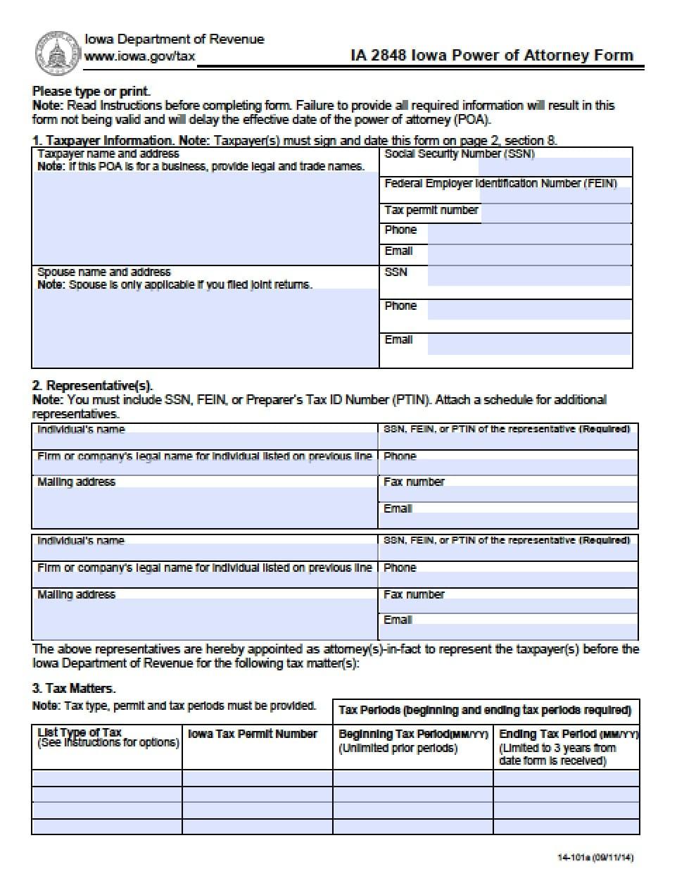 Iowa Tax Power of Attorney Form - Power of Attorney : Power of ...