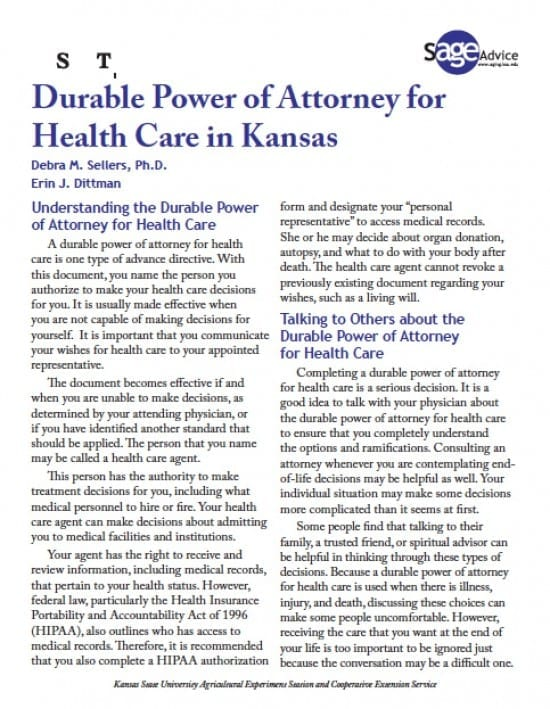 Kansas Medical Power Of Attorney Form - Power Of Attorney : Power