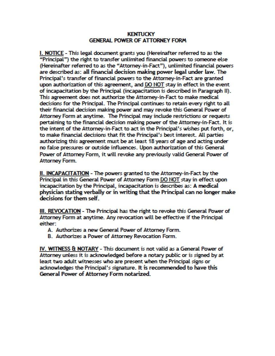 power of attorney form kentucky  Kentucky General Financial Power of Attorney Form - Power of ...