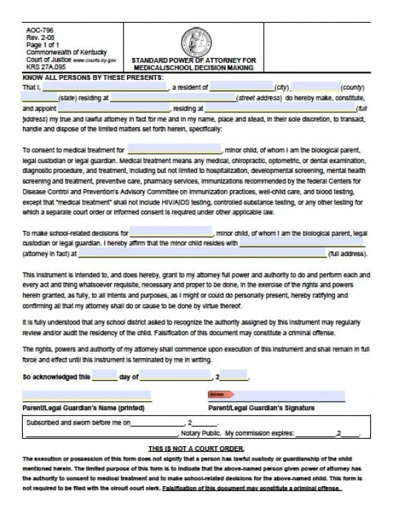 Kentucky Minor Child Power Of Attorney Form  Power Of Attorney