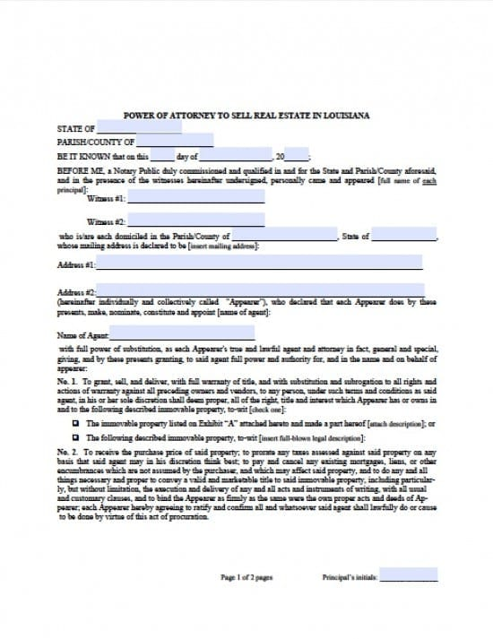 Louisiana Real Estate ONLY Power of Attorney Form