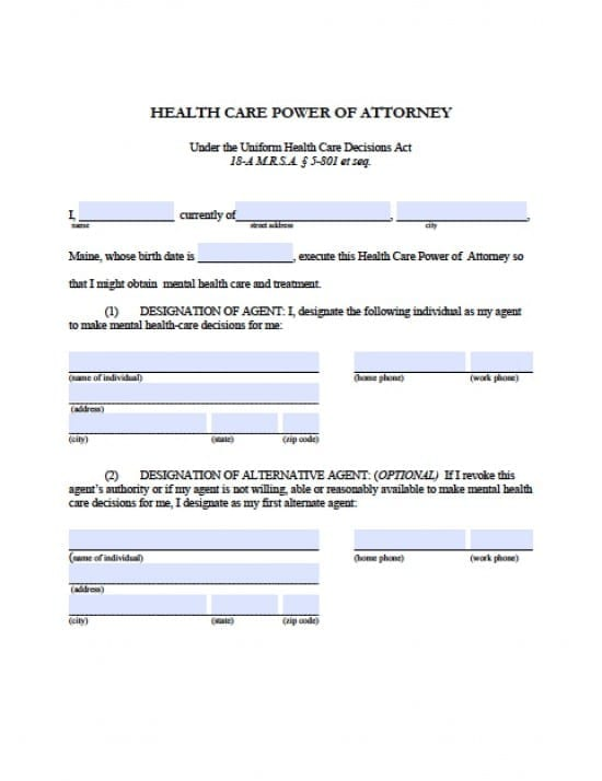 Maine Medical Power Of Attorney Form  Power Of Attorney  Power Of