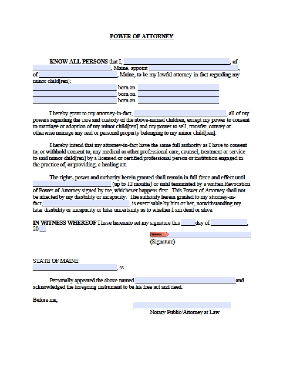 Maine Minor Child Power of Attorney Form - Power of Attorney ...