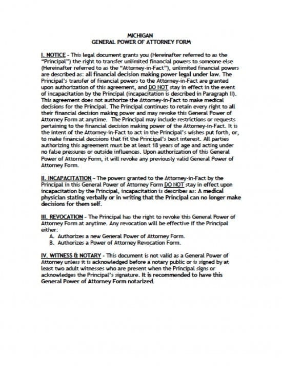 Michigan General Financial Power of Attorney Form