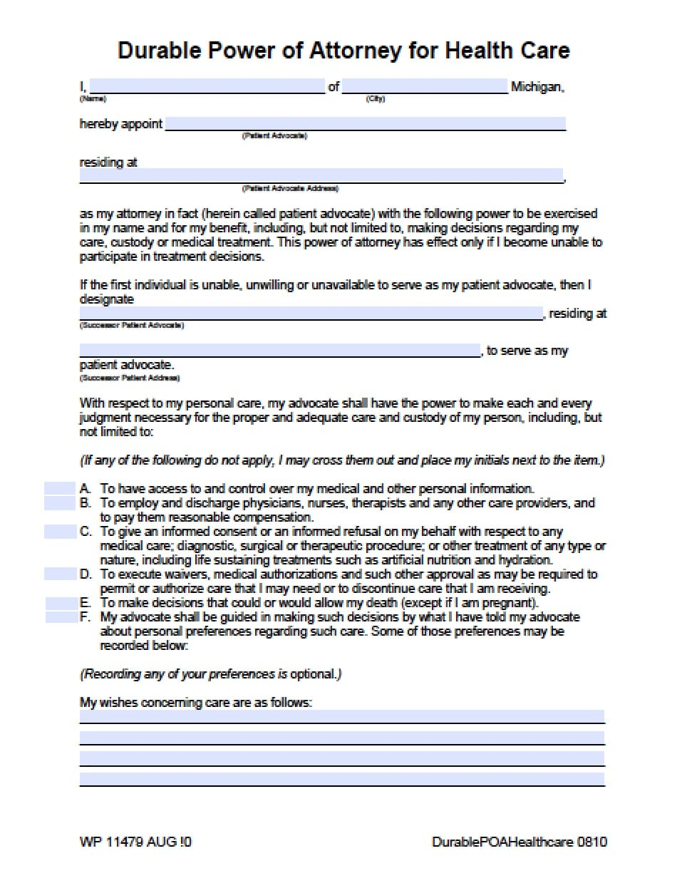 Michigan Medical Power of Attorney Form - Power of Attorney ...
