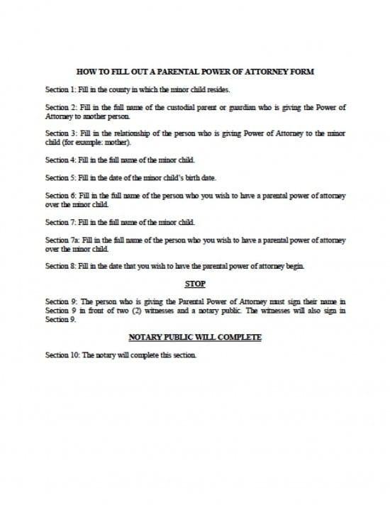 Michigan Minor Child Power of Attorney Form