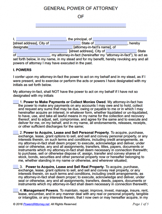 General Financial Power Of Attorney Forms Pdf Templates Power