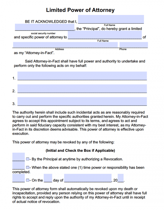 Limited special power of attorney forms pdf templates for Full power of attorney template