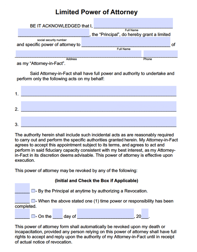 Free power of attorney templates in fillable pdf format for Special power of attorney template free