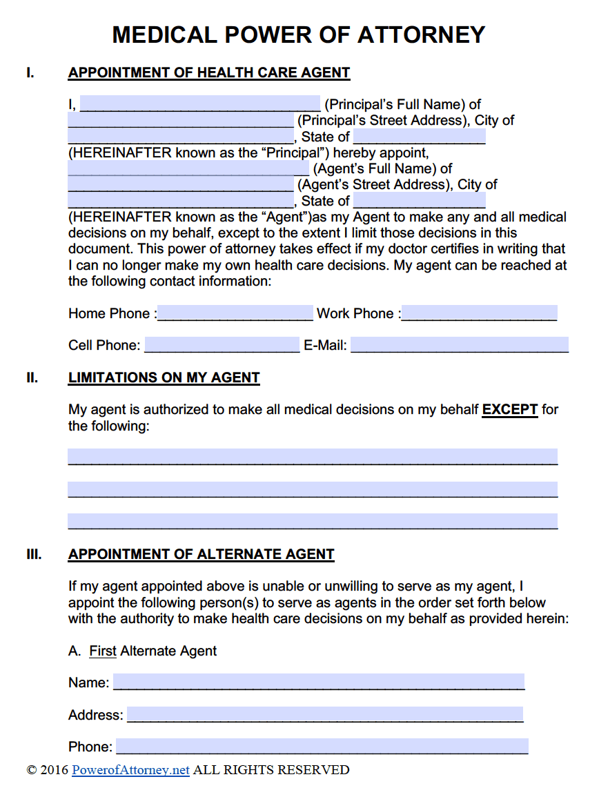 medical power of attorney forms | pdf templates - power of attorney