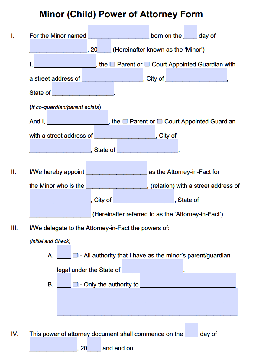 power of attorney for minor child Minor Child Power of Attorney Forms | PDF Templates - Power of ...