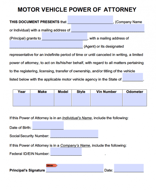 Motor Vehicle Power Of Attorney Forms Pdf Templates Power Of