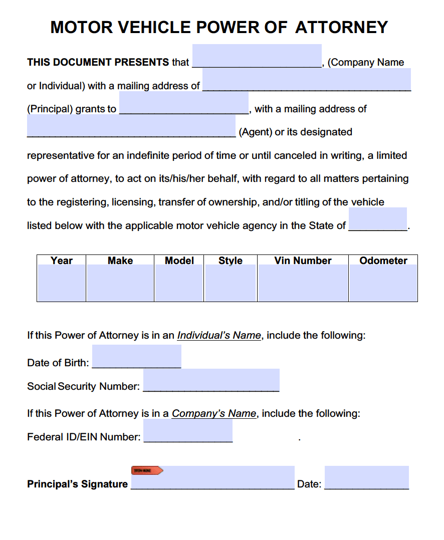 Motor Vehicle Power of Attorney Forms | PDF Templates ...