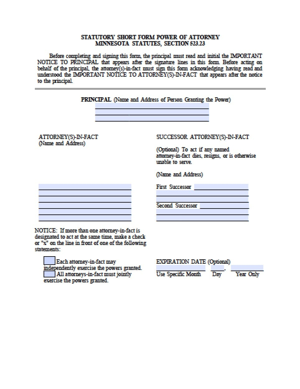 Minnesota Durable Financial Power Of Attorney Form