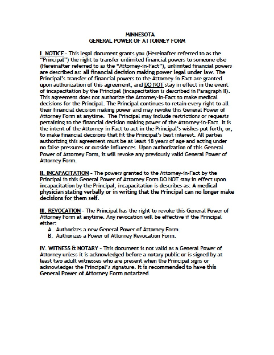 Minnesota General Financial Power Of Attorney Form