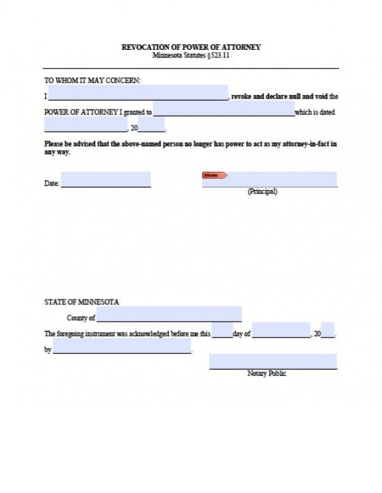 Power Of Attorney Form Mn Dolapgnetband