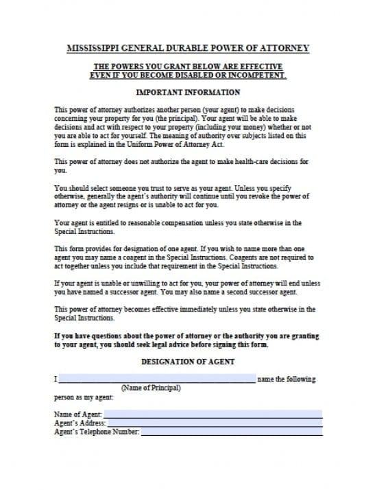 Mississippi Durable Financial Power of Attorney Form