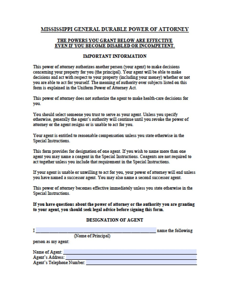 Power of attorney form forex