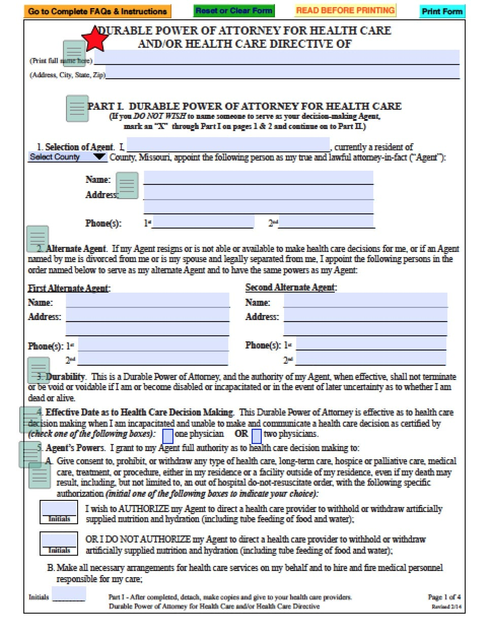Missouri Medical Power Of Attorney Form ...