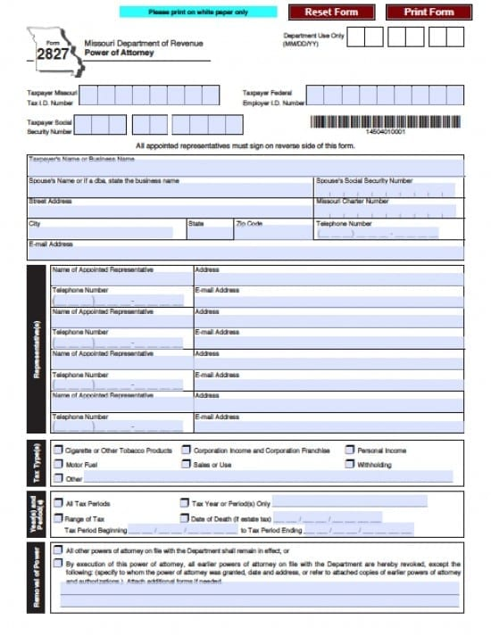 Missouri Tax Power of Attorney Form