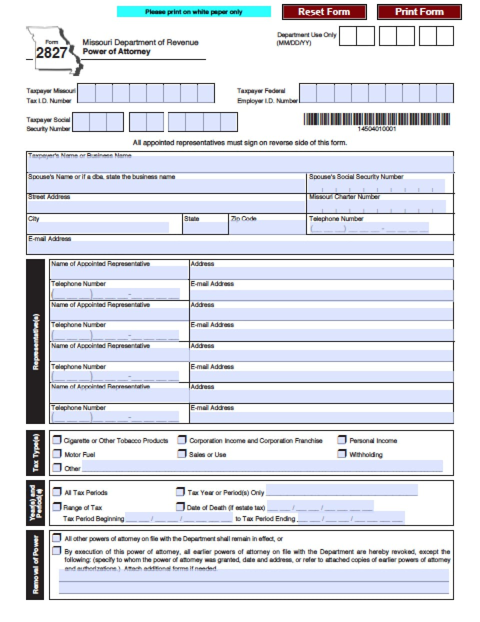 Missouri Tax Power Of Attorney Form