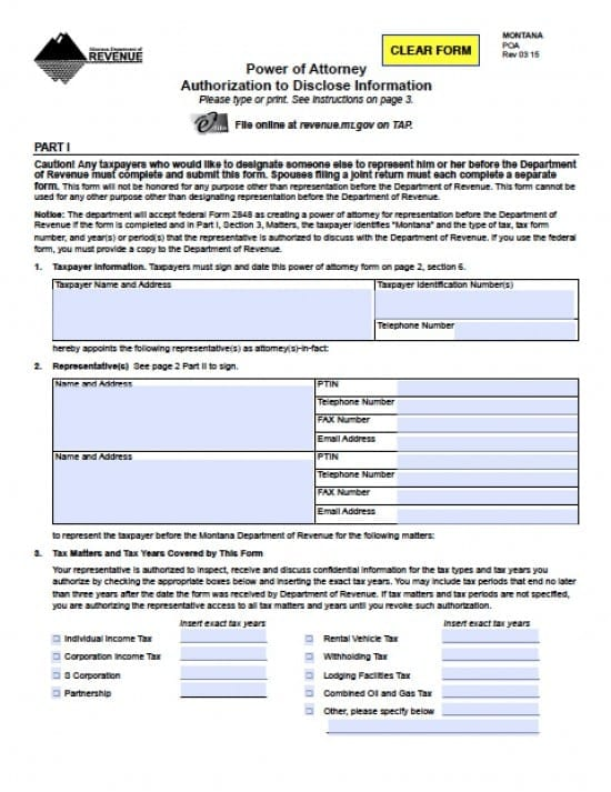 Montana Tax Power of Attorney Form