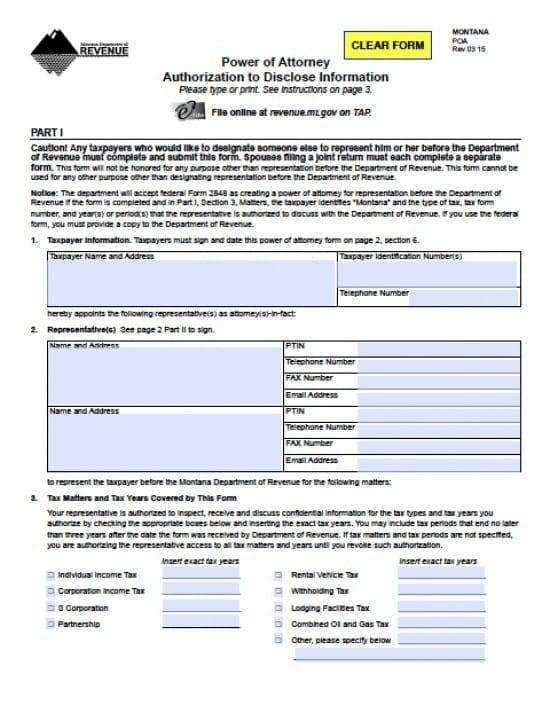 Montana Tax Power of Attorney Form