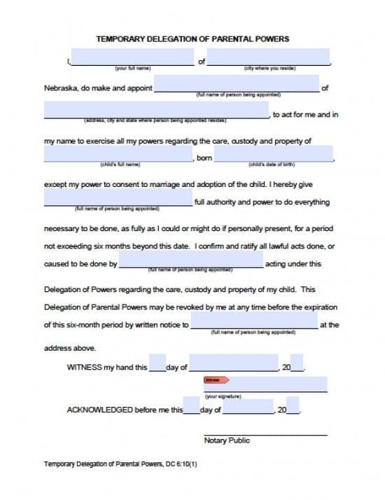 Nebraska Minor Child Power of Attorney Form